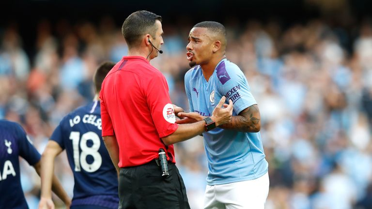 Gabriel Jesus appeals to the match referee Michael Oliver after his goal is ruled out by VAR