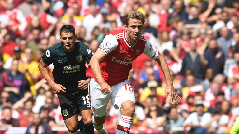 Nacho Monreal in action vs Burnley at the Emirates Stadium
