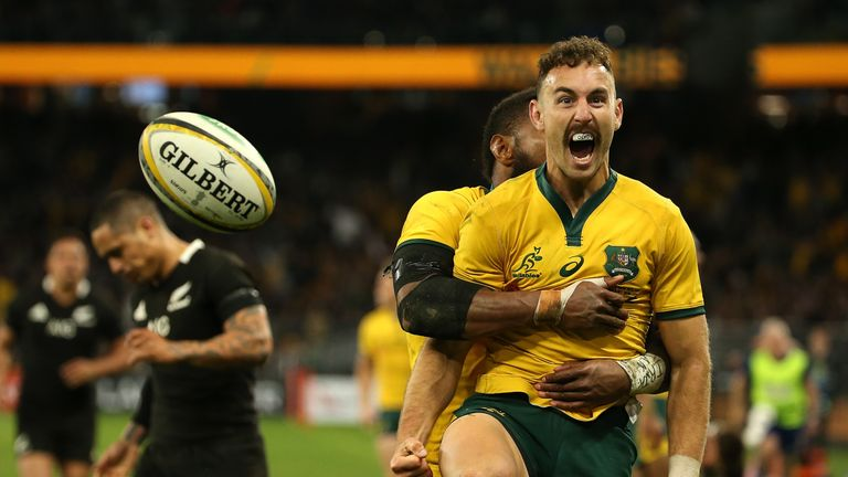Nic White went over for one of six tries against the All Blacks