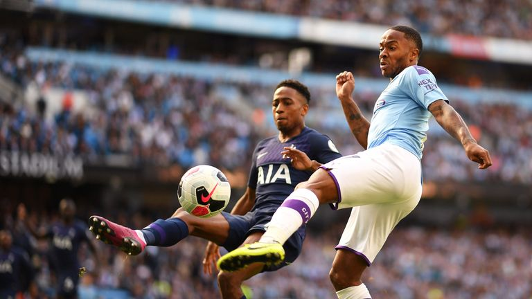 Raheem Sterling battles for possession with Kyle Walker-Peters
