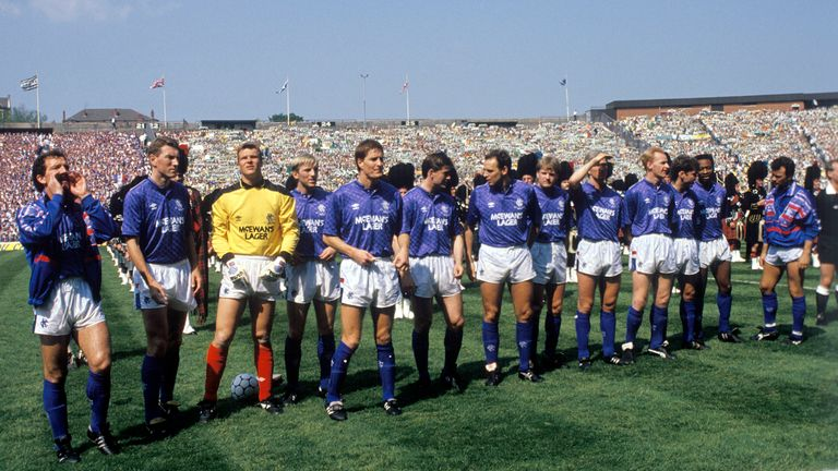 Souness lines up with Rangers before the 1989 Scottish Cup final