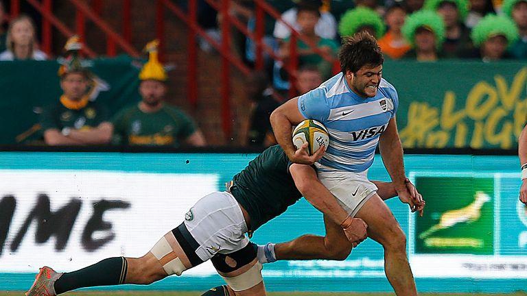 South Africa flanker Rynhardt Elstadt tackles Argentina prop Santiago Medrano in Pretoria