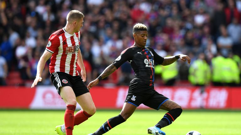 Van Aanholt (R) in action during Palace's defeat to Sheffield United