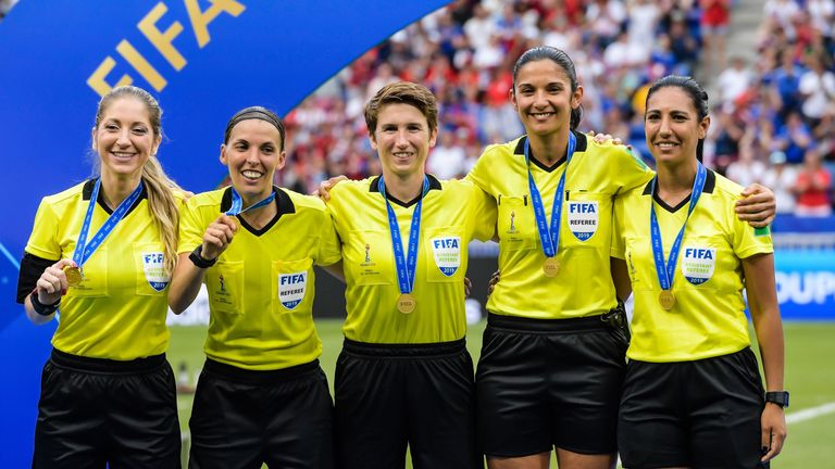 Stephanie Frappart will officiate alongside Manuela Nicolosi (left) and Michelle O'Neill (centre)