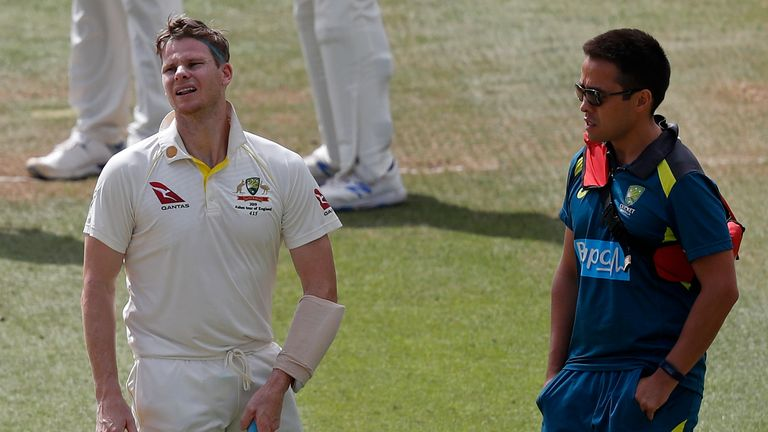 Smith suffered a concussion after being hit on the head at Lord's