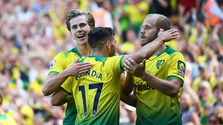 Cantwell, Buendia and Pukki (right) have all enjoyed eye-catching campaigns for Norwich this season