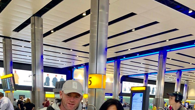 Wayne Rooney arrived at Heathrow on Tuesday morning ahead of a surprise move to Derby