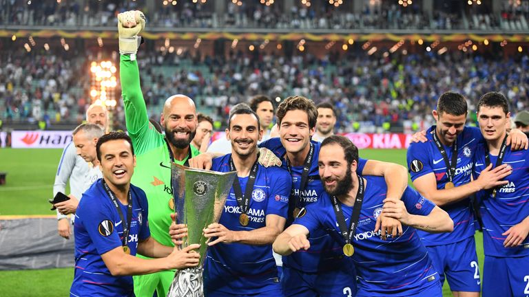 Zappacosta, second on the left, was part of Chelsea's Europa League winning squad last season