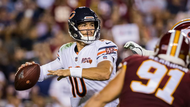 Mitchell Trubisky throws a pass downfield in the Bears' win over Washington