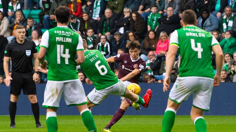 Aaron Hickey scores to make it 2-1 at Easter Road