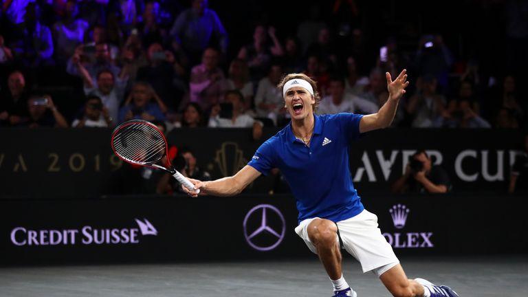 Alexander Zverev celebrates after sealing the winning points