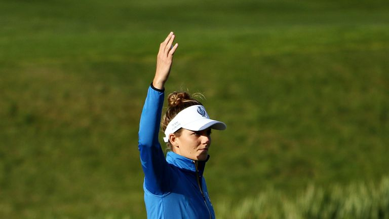 Anne van Dam celebrates after winning the 16th hole