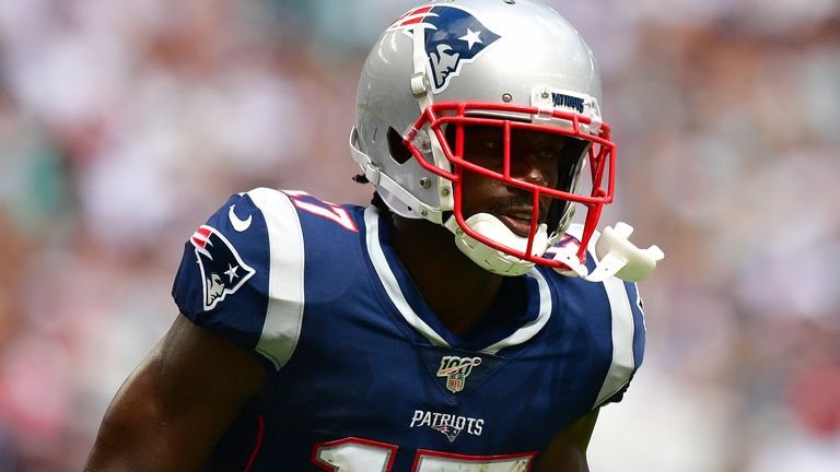 Antonio Brown had four catches for 56 yards and one touchdown in his sole outing for the Patriots against the Miami Dolphins