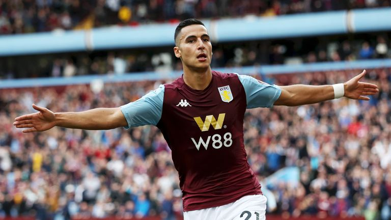 Anwar El Ghazi celebrates putting Aston Villa ahead in the first half
