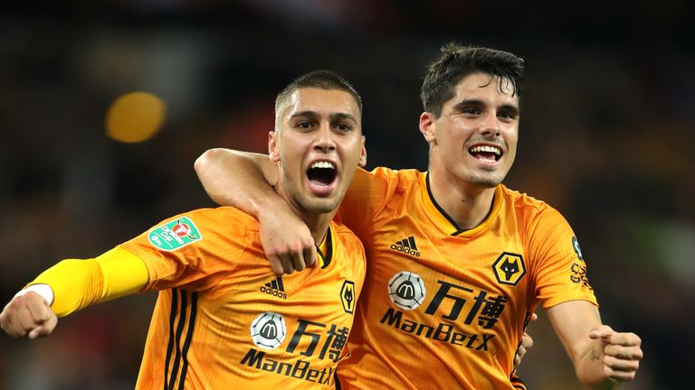 Bruno Jordao celebrates scoring Wolves' goal against Reading