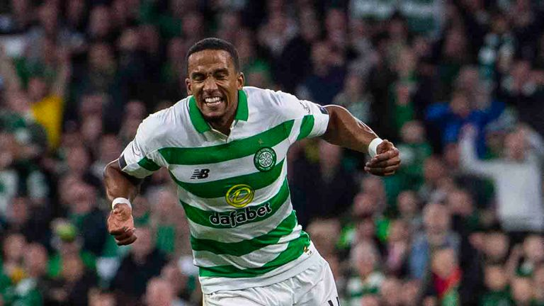 Celtic's Scott Sinclair celebrates his goal to make it 5-0