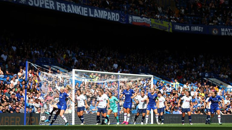 Nearly 25,000 fans were in attendance at Stamford Bridge to watch Chelsea Women beat Spurs Ladies