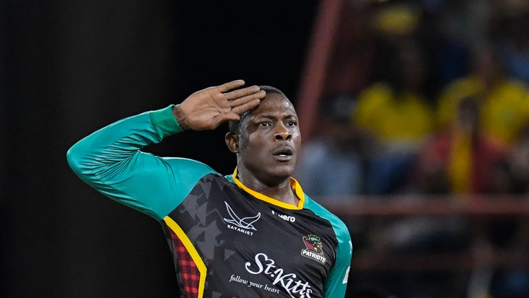 Sheldon Cottrell celebrates a wicket for St Kitts & Nevis Patriots in his unique style