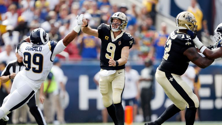 Drew Brees was sidelined early on as New Orleans suffer defeat to Los Angeles Rams