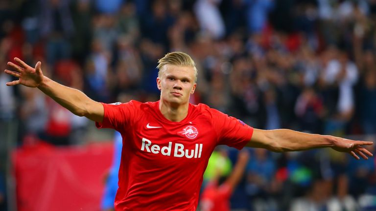 Erling Braut Haaland scored a hat-trick on his Champions League debut for RB Leipzig