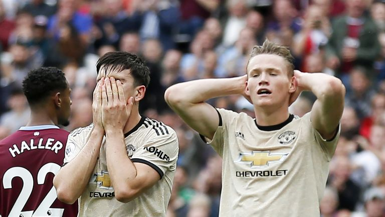 Harry Maguire and Scott McTominay react to a missed chance