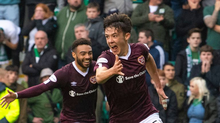 Aaron Hickey's late goal secured Hearts' win