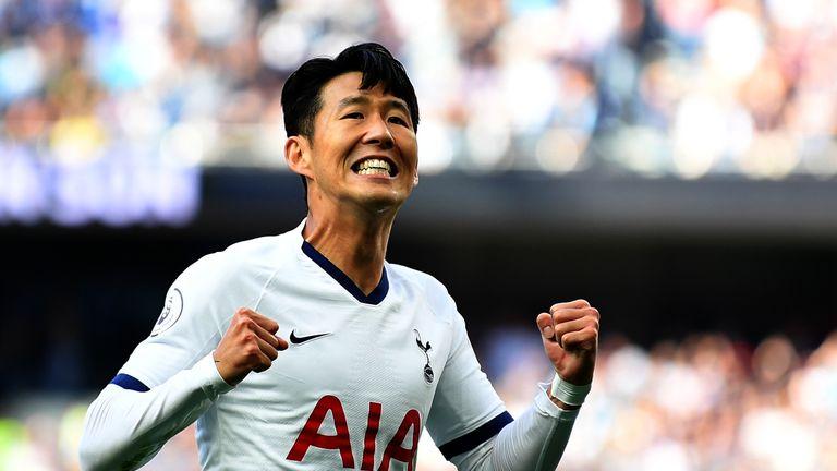 Heung-Min Son celebrates after he scores Tottenham's first goal