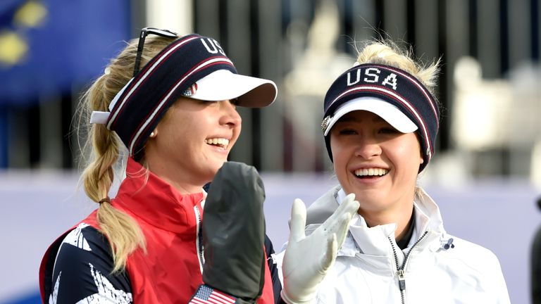 Jessica Korda (L) and Nelly Korda smiled their way through another Solheim Cup victory