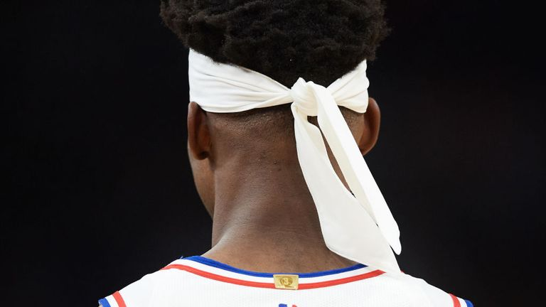 The headband of Jimmy Butler of the Philadelphia 76ers is seen during the game against the Minnesota Timberwolves on March 30
