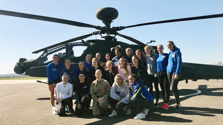 Jo Vann with members of the Team Bath student and U21 squads at the Army Aviation Centre in Middle Wallop