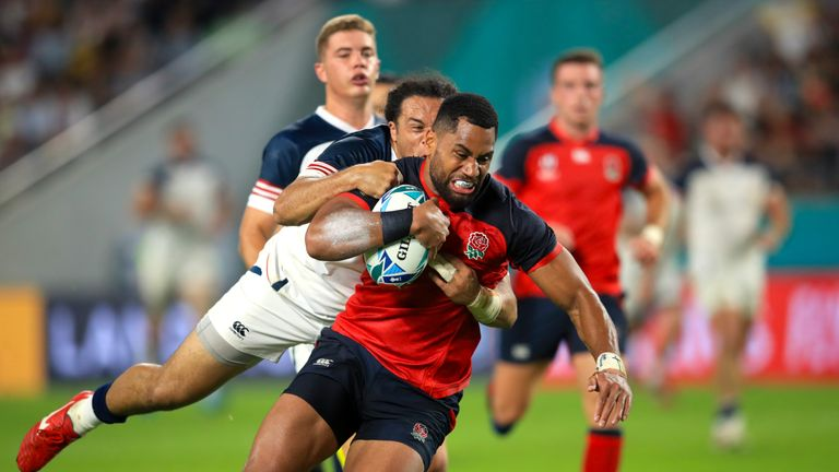 Joe Cokanasiga scored two tries for England against USA in the Rugby World Cup