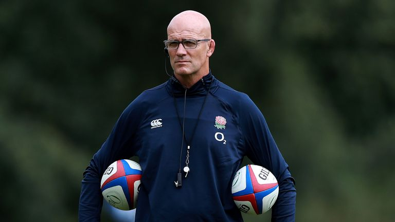 England defence coach John Mitchell at Pennyhill Park training