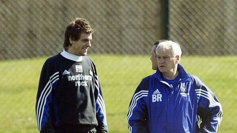 Woodgate during his time as a player at Newcastle with Bobby Robson