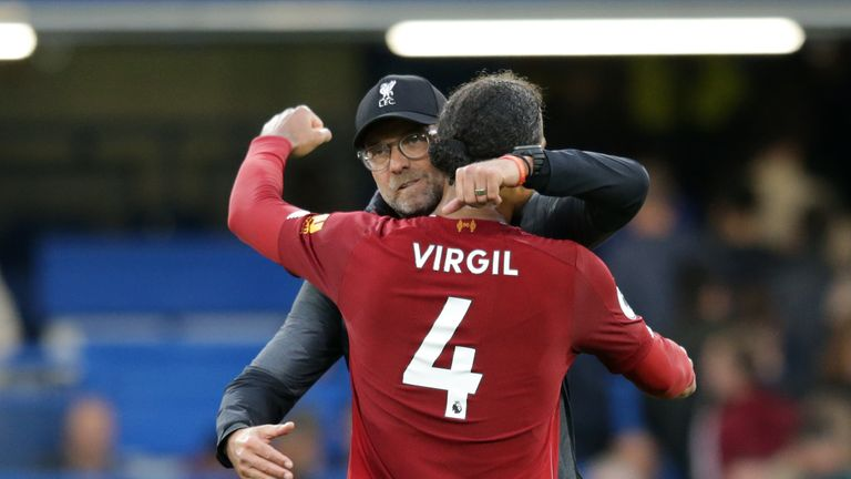 Jurgen Klopp celebrates with Virgil van Dijk