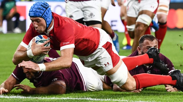 Wales' flanker Justin Tipuric scores a try during the win over Georgia