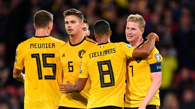 Kevin De Bruyne celebrates a Belgium goal against Scotland
