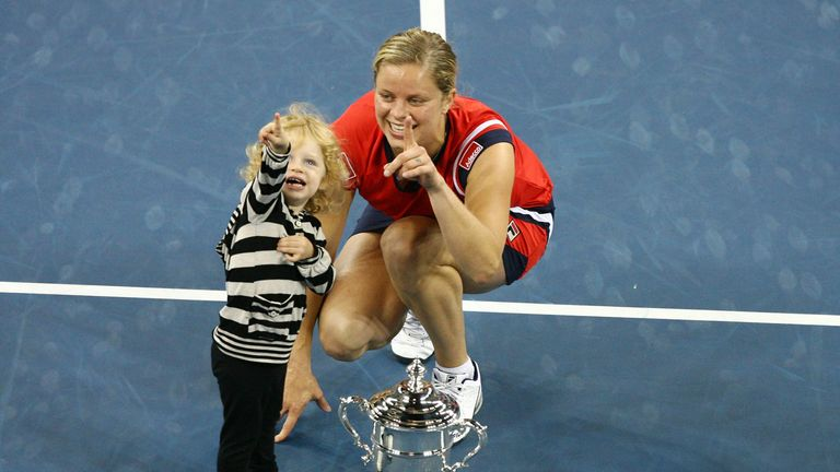 Clijsters became the first mother to win a Grand Slam title since Evonne Goolagong at Wimbledon in 1980