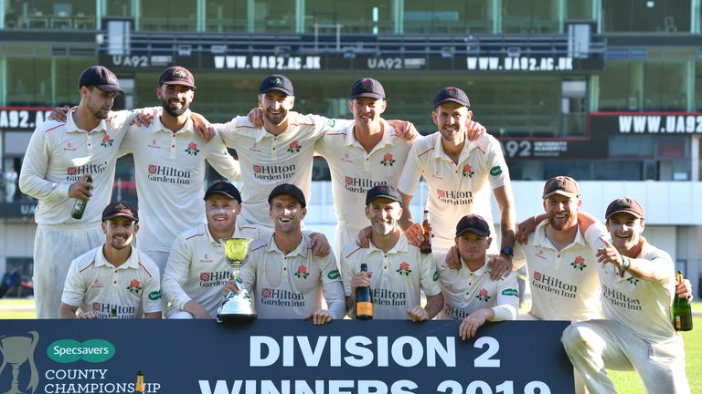 Lancashire are presented with the 2019 County Championship Division Two trophy
