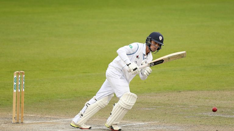 Leus Du Plooy became the first Derbyshire batsman to score centuries home and away against Middlesex