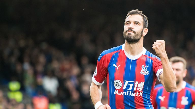 Luka Milivojevic of Crystal Palace celebrates after scoring from the penalty spot