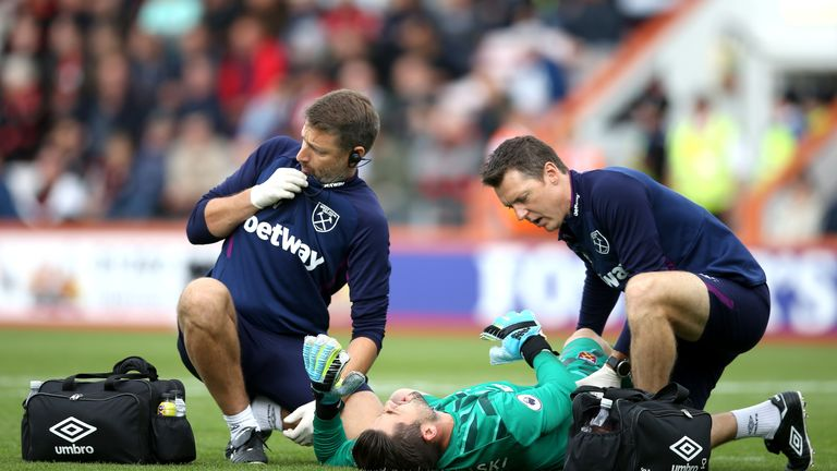 Fabianski was treated on the pitch during the 2-2 draw with the Cherries