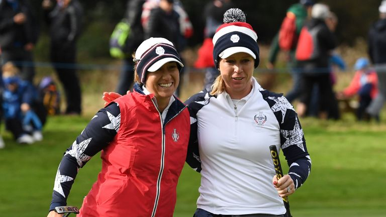 Marina Alex (L) and Morgan Pressel bounced off the ropes to secure victory for USA in the first match out on Saturday