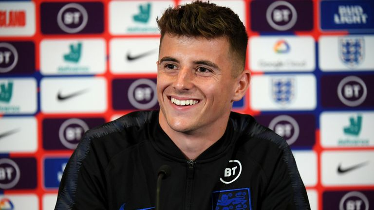 Mason Mount speaks during an England press conference at St George's Park