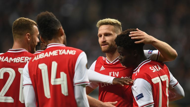 Goals from Joe Willock, Bukayo Saka, and Pierre-Emerick Aubameyang secured victory in Arsenal's opening Europa League group game
