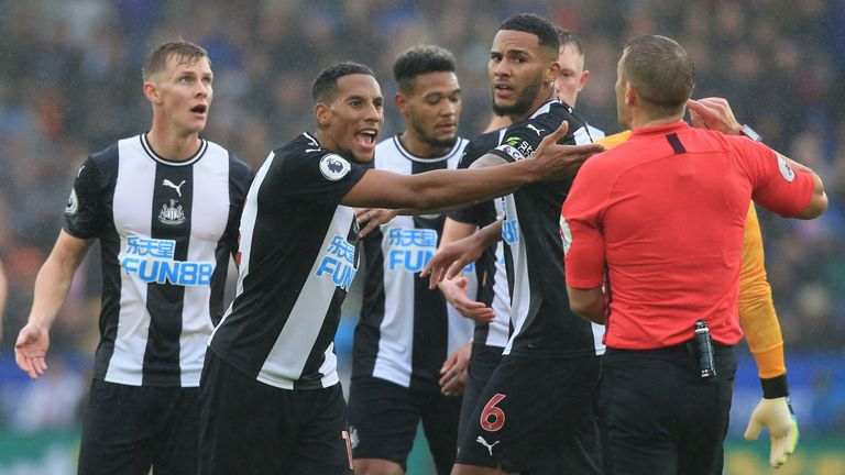 Newcastle were not helped by Isaac Hayden's 43rd-minute red card