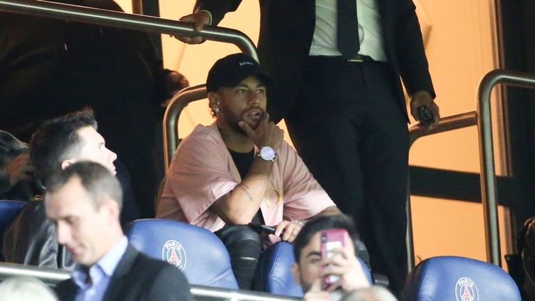 Neymar served the first of his two-match Champions League ban in PSG's 3-0 win over Real Madrid