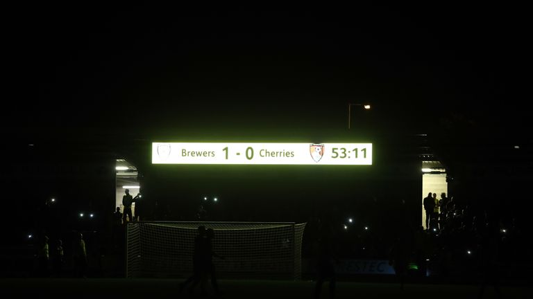 A view of the scoreboard as the lights go out at the Pirelli Stadium