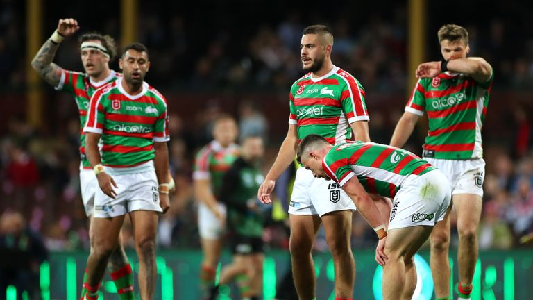 Rabbitohs players recover during the NRL Qualifying Final match against the Sydney Roosters