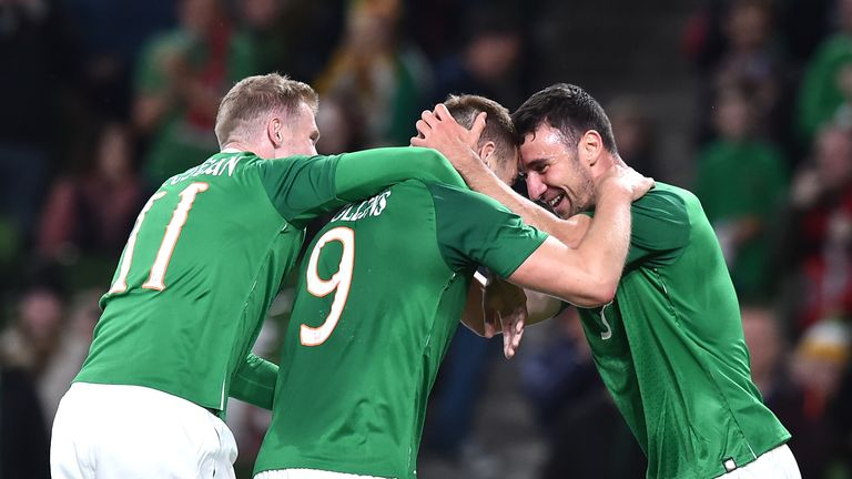 The Republic's players celebrate their win in Dublin