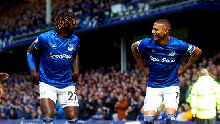 Richarlison celebrates Everton's first goal of the game with team-mate Moise Kean